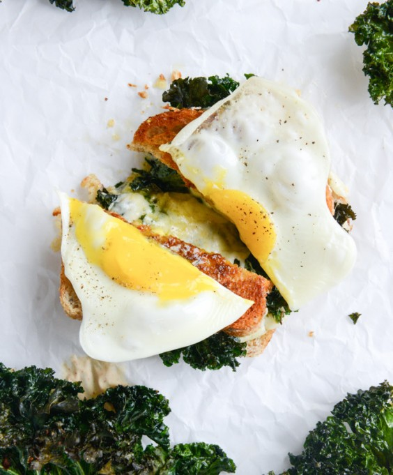 11. Crispy Kale Grilled Cheese With Fried Eggs