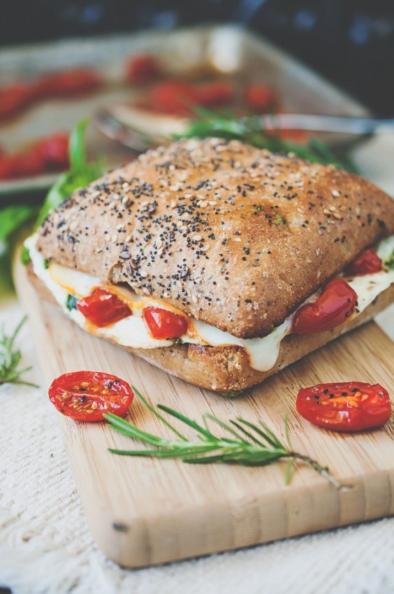 13. Mediterranean Egg White Breakfast Sandwich With Roasted Tomatoes