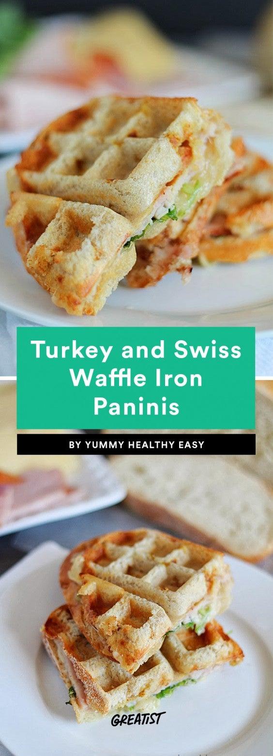 Turkey and Swiss Waffle Iron Paninis