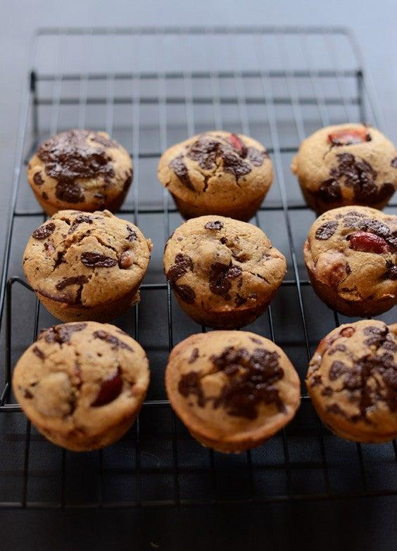 19. Vegan Cherry Dark Chocolate Chip Muffins