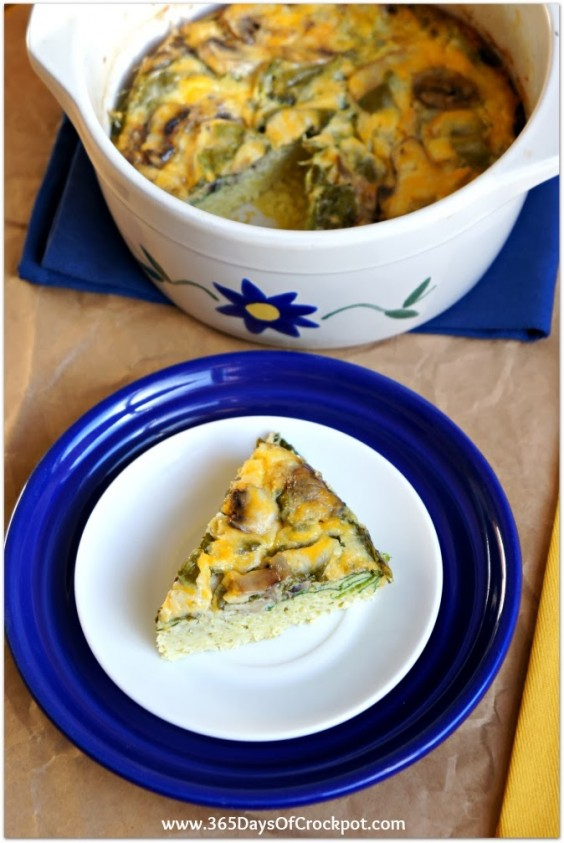 3. Slow-Cooker Spinach and Mushroom Frittata