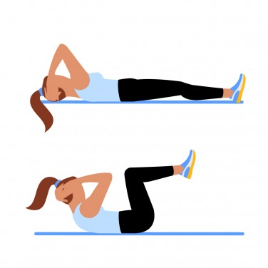 Illustration of a woman doing knee-in crunches