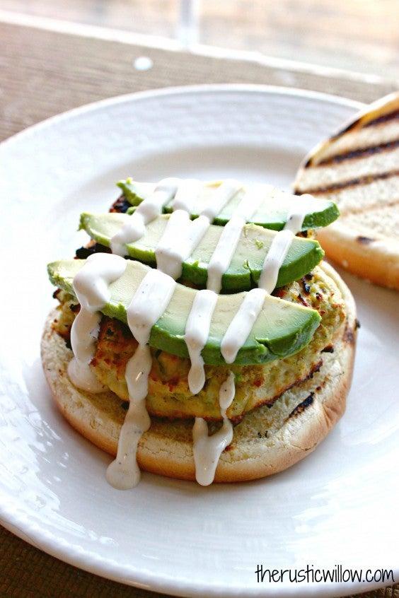 8. Avocado, Feta, and Ranch Chicken Burgers
