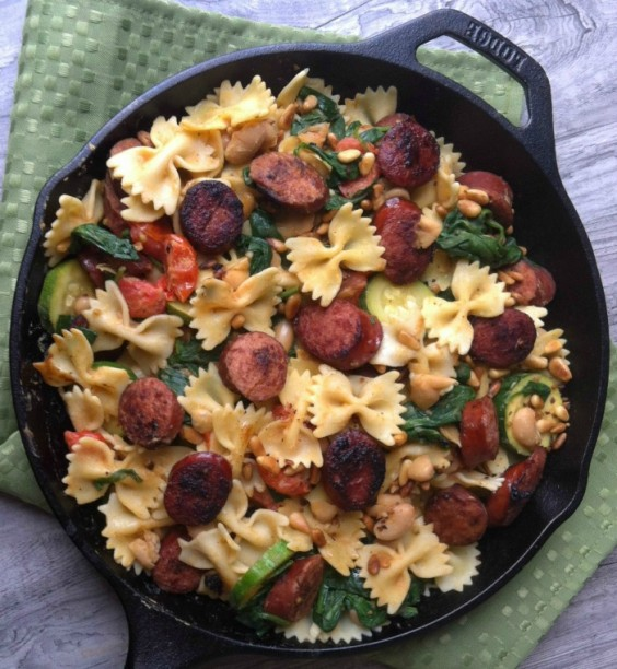 9. Smoked Sausage, White Bean, and Spinach Pasta