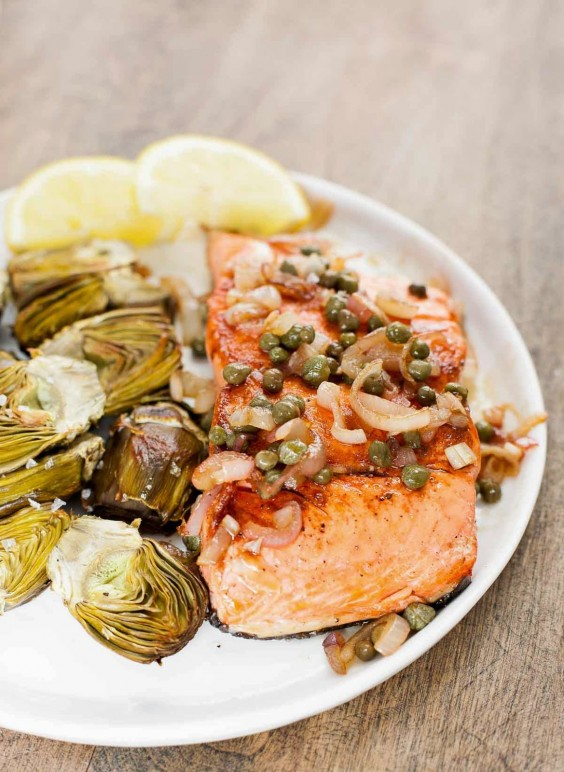 7. Pan-Seared Salmon With Capers and Baby Artichokes