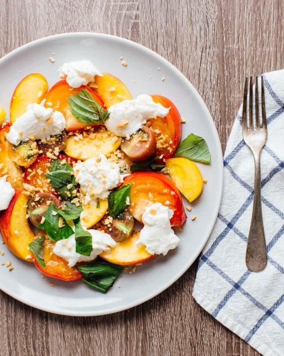 1. Peach, Heirloom Tomato, and Burrata Salad