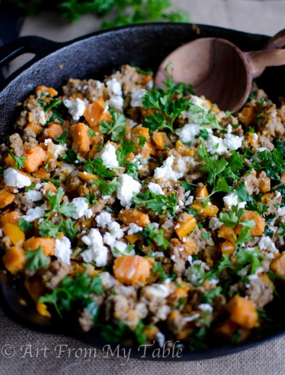 15. Turkey Skillet Dinner With Sweet Potatoes and Kale