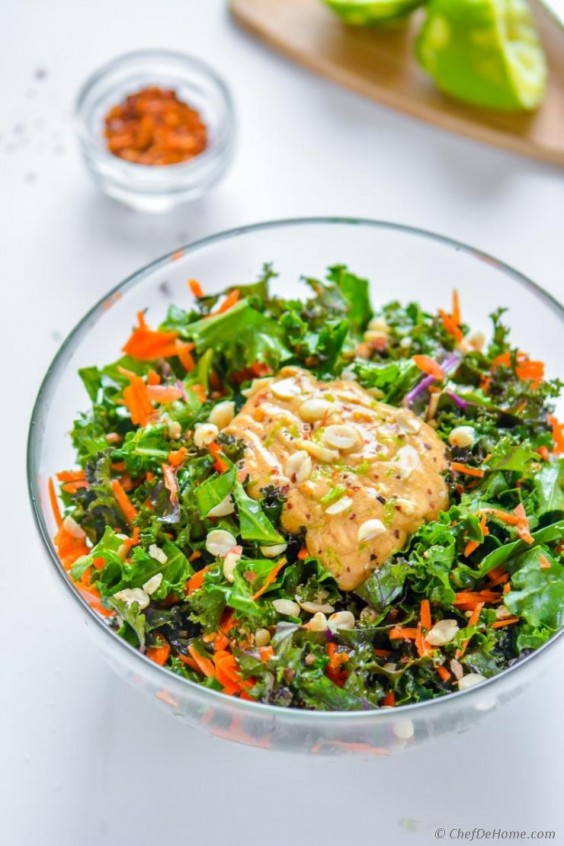8. Kale and Carrot Salad With Chili Lime Peanut Dressing