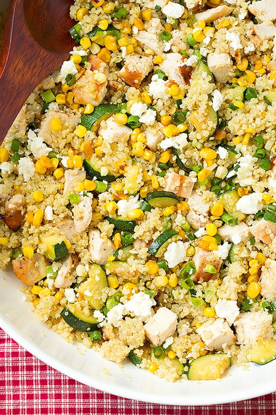 Healthy Grain Bowls: Zucchini, Corn, and Quinoa Bowls With Grilled Chicken