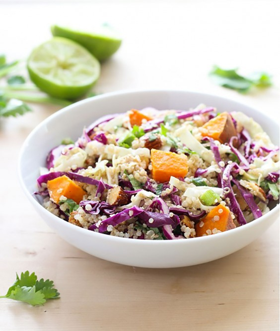 Healthy Grain Bowls: Crunchy Quinoa Power Bowl With Almond-Ginger Dressing