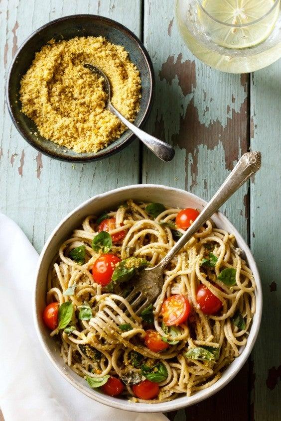 3. Lemon Basil Pasta With Walnut Parmesan