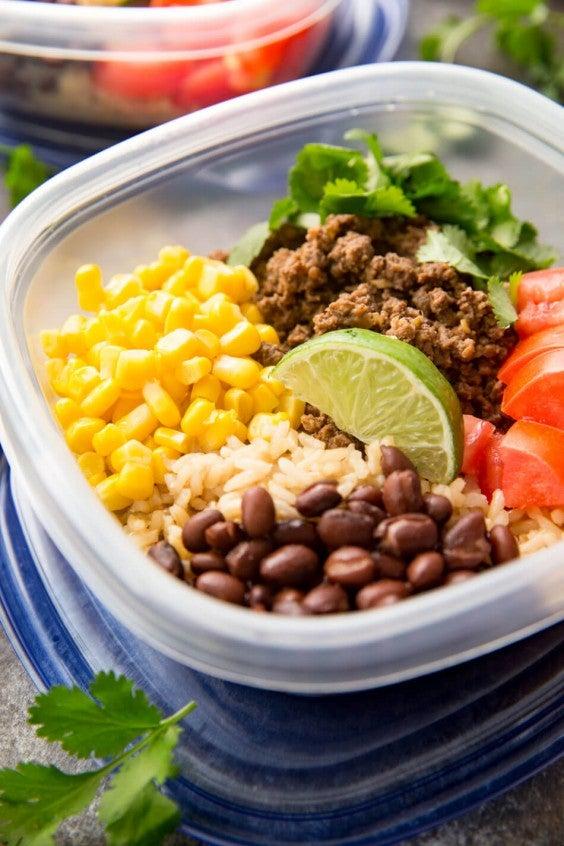 9. Salsa Verde Taco Meal-Prep Bowls