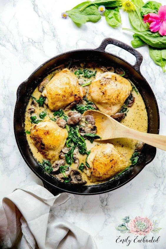 1. Keto Chicken Florentine in a Skillet