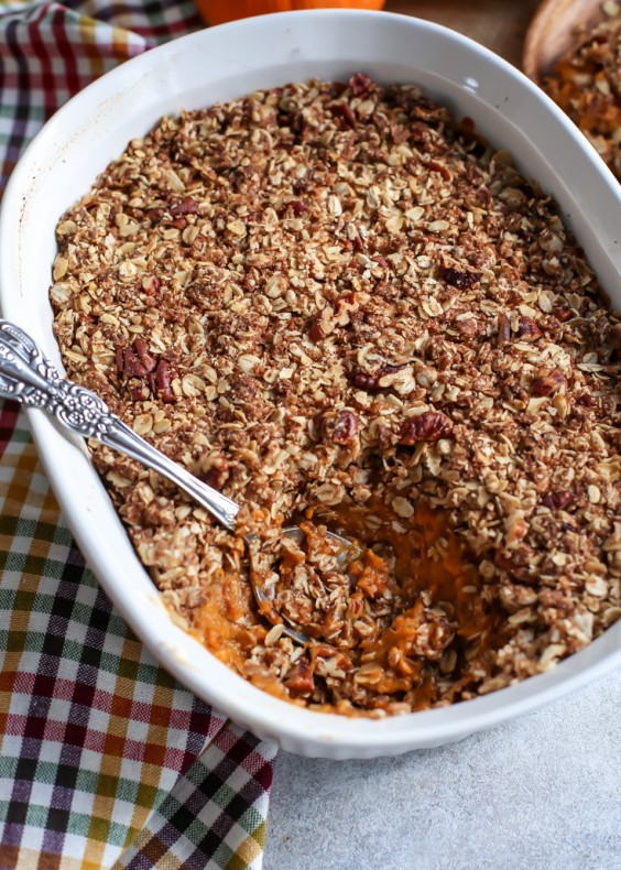 11. Vegan Sweet Potato Casserole With Pecan Oat Crumble