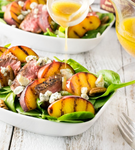 8. Grilled Steak and Peach Salad With Blue Cheese and Red Wine Vinaigrette