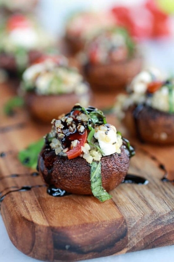 13. Caprese Quinoa Grilled Stuffed Mushrooms With Balsamic Glaze