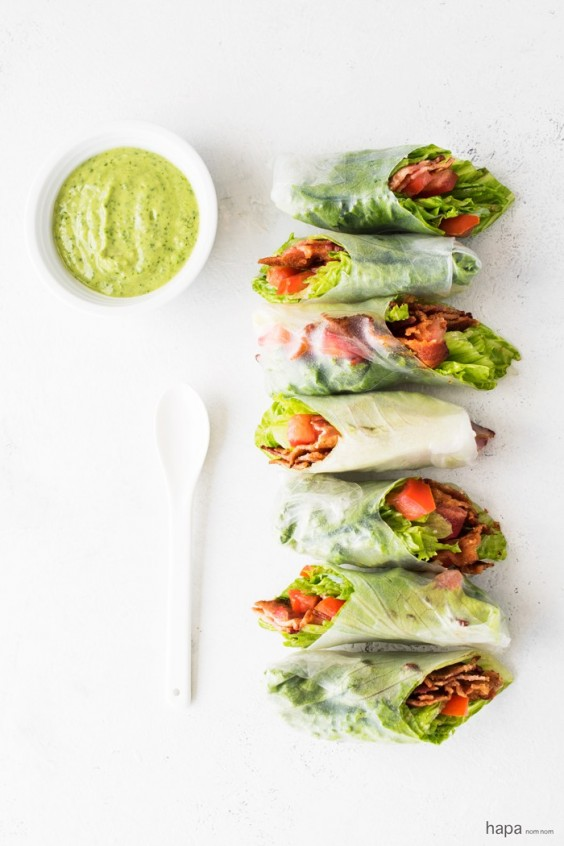 16. BLT Summer Rolls With Avocado Dipping Sauce