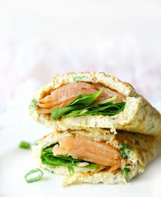 13. 10-Minute Smoked Salmon, Spinach, and Egg White Wraps
