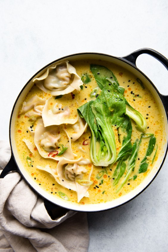 4. Tofu Wontons With Yellow Curry Broth
