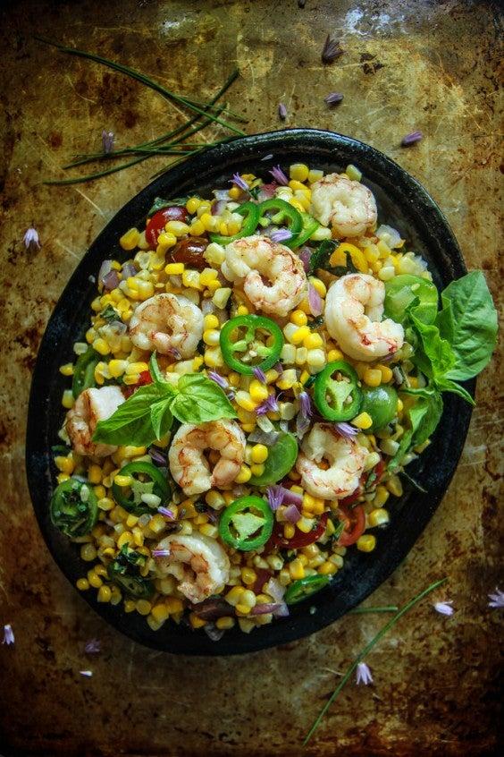 14. Hot Shrimp, Corn, and Basil Salad