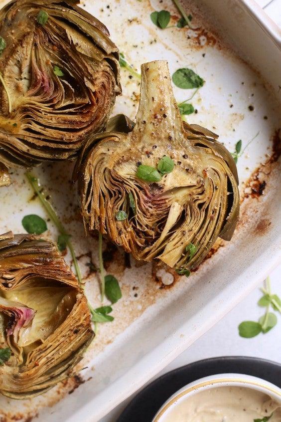 5. Roasted Artichokes With Creamy Cashew Aioli