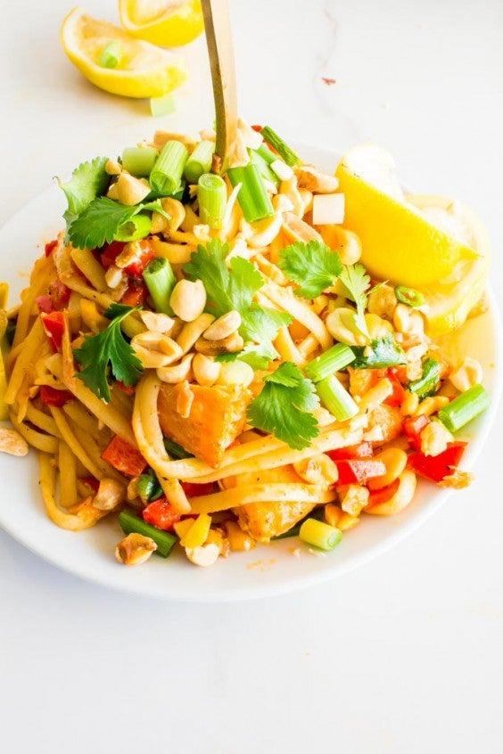 6. Seared Salmon Pasta With Coconut Milk Chili Sauce
