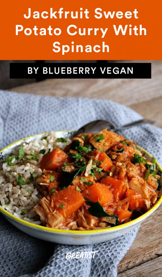1. Jackfruit Sweet Potato Curry With Spinach