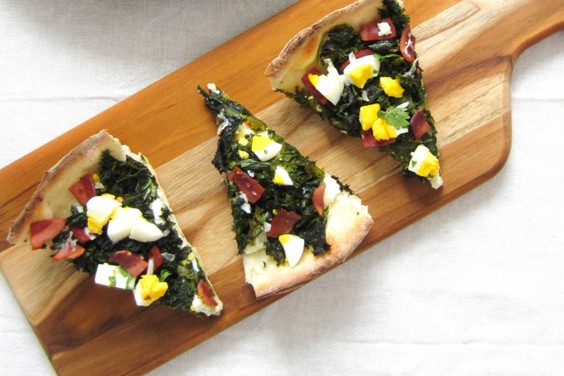 Kale and Ricotta Breakfast Pizza