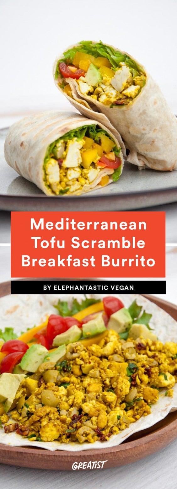 2. Mediterranean Tofu Scramble Breakfast Burrito