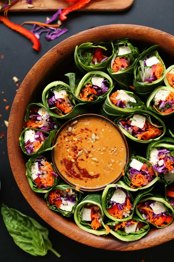 7. Collard Green Spring Rolls + Sunbutter Dipping Sauce