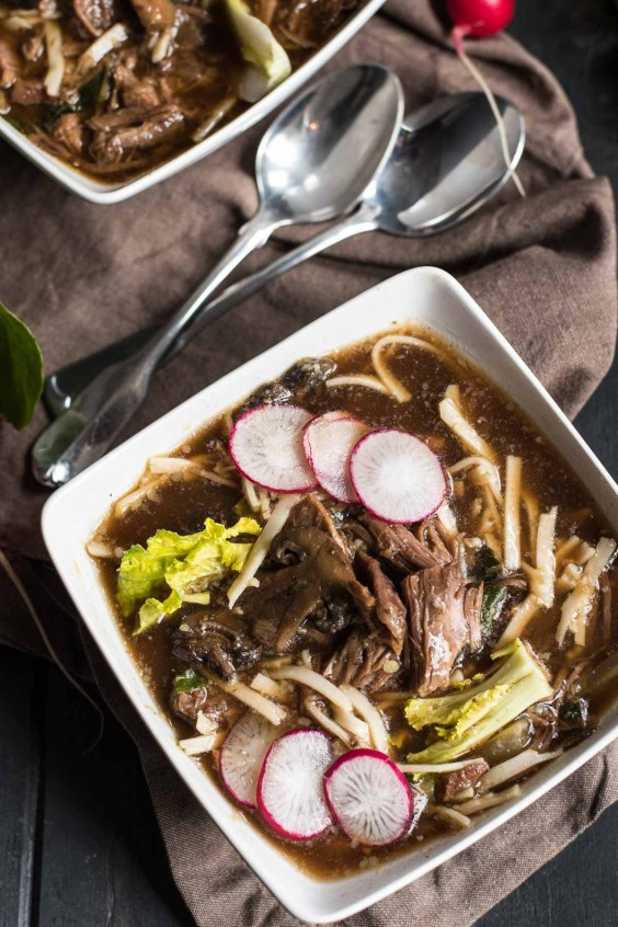 12. Slow-Cooker Asian Beef and Udon Noodle Soup