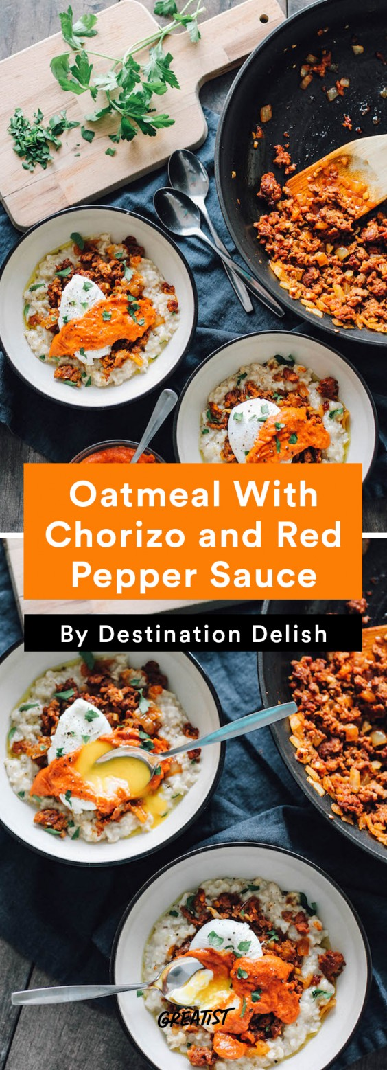 savory oatmeal: Oatmeal With Chorizo and Red Pepper Sauce