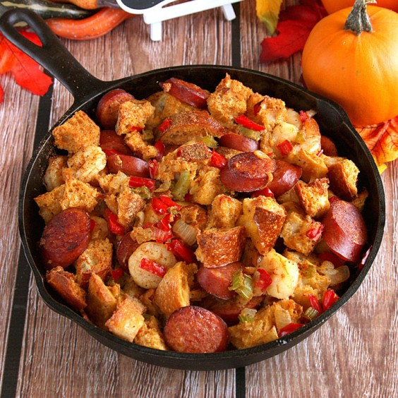 4. Cajun Stuffing With Shrimp and Andouille Sausage