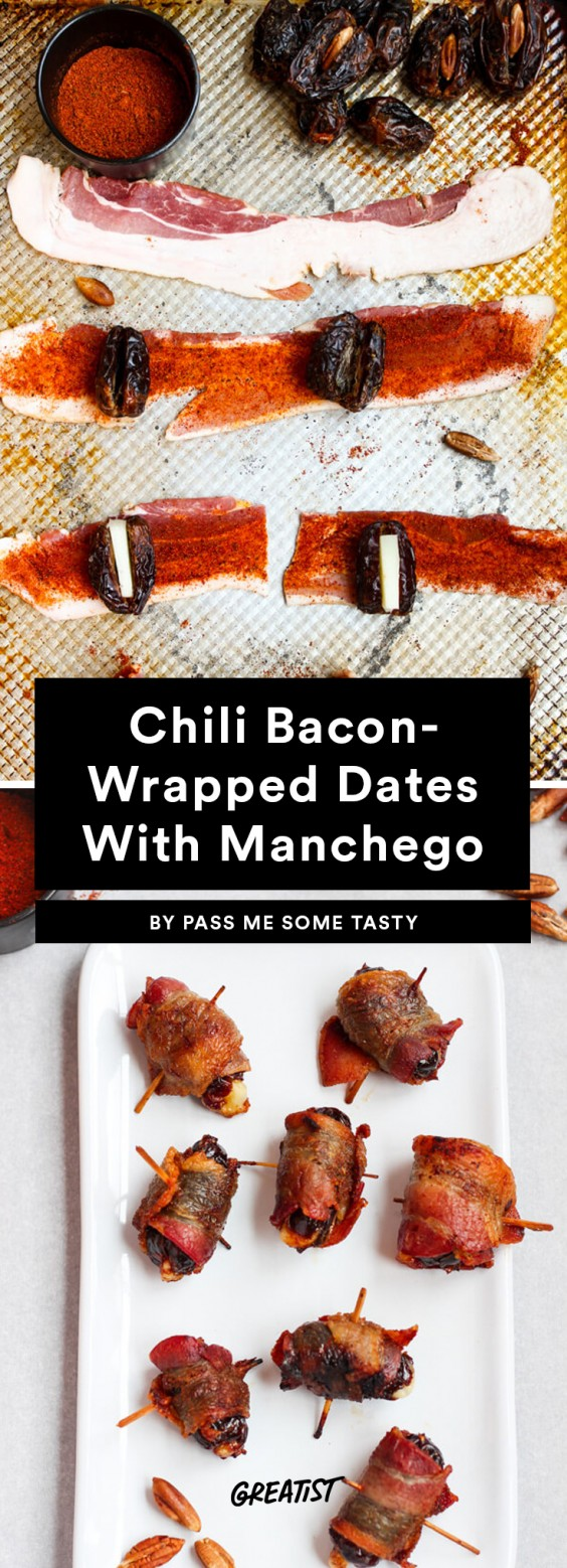 3. Chili Bacon-Wrapped Dates With Manchego
