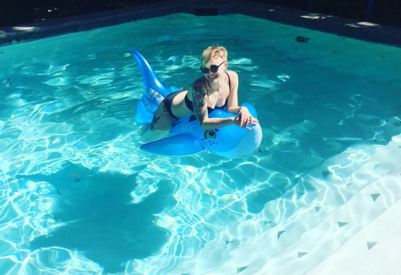 The author, Rebecca, in the pool.
