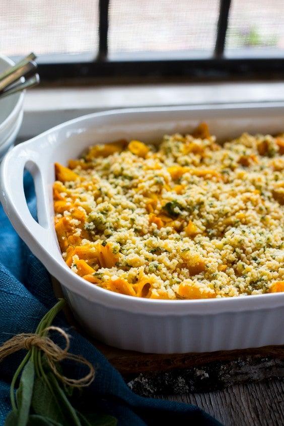 3. Vegan Butternut Squash Mac and Cheese With Crispy Sage Breadcrumbs