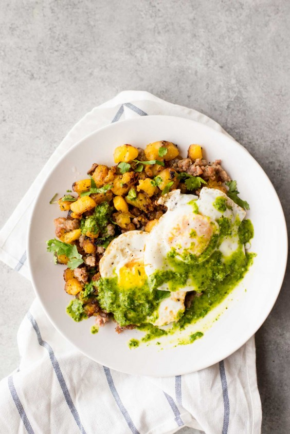 1. 10-Minute Breakfast Hash With Plantains and Chimichurri