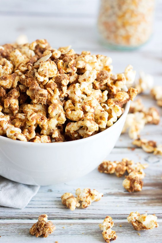 21. Almond and Peanut Butter Caramel Popcorn