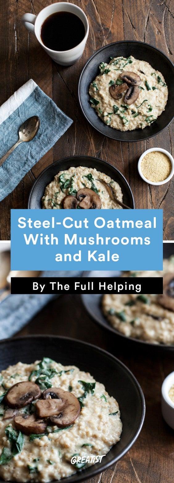savory oatmeal: steel cut mushrooms