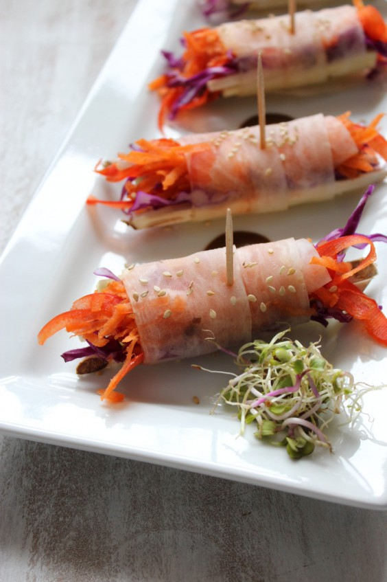 20. Easy Veggie Spring Rolls With Spicy Coconut Curry Sauce