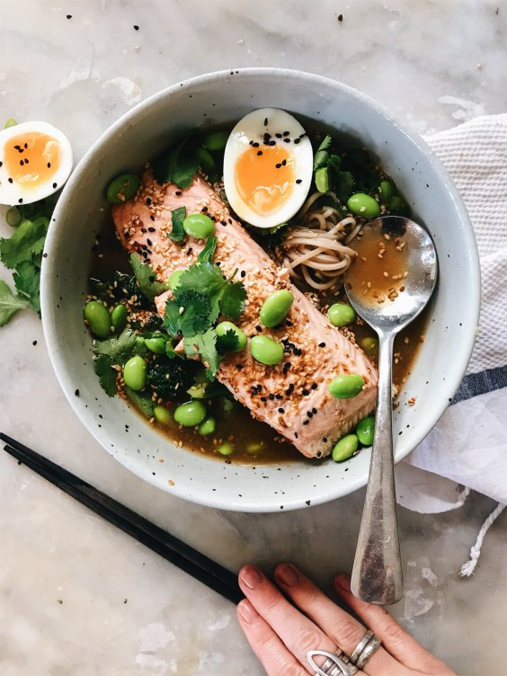 5. Salmon Soba Bowls With Miso Ginger Broth