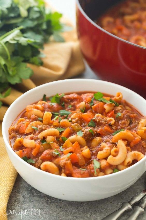 9. One-Pot Beef and Tomato Macaroni Soup