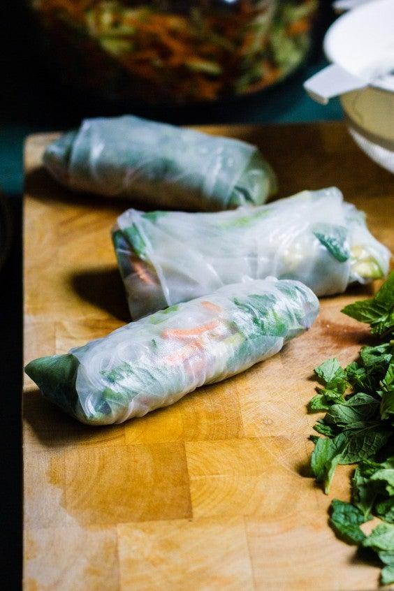 21. Vegan Rice Paper Rolls With Mandarin-Tahini Dipping Sauce