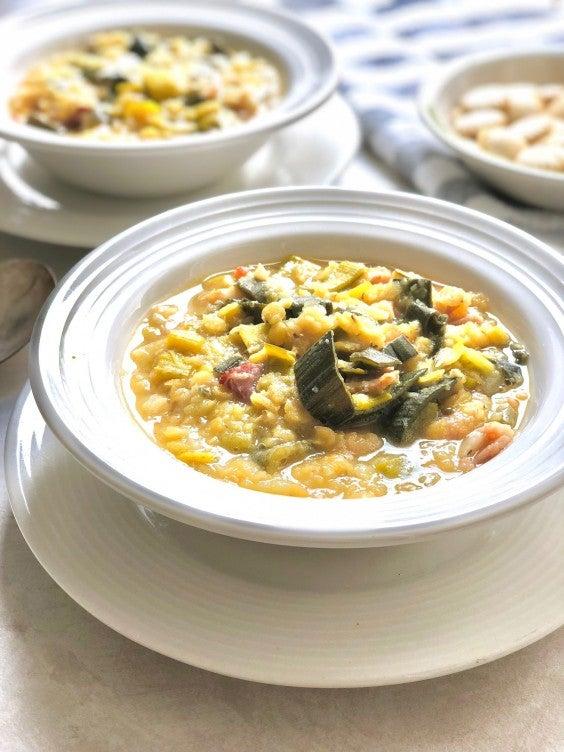 8. 5-Ingredient Crock-Pot Bacon and Leek Lentil Soup