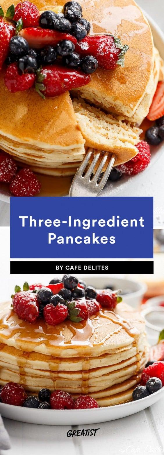 three ingredient breakfast: pancakes