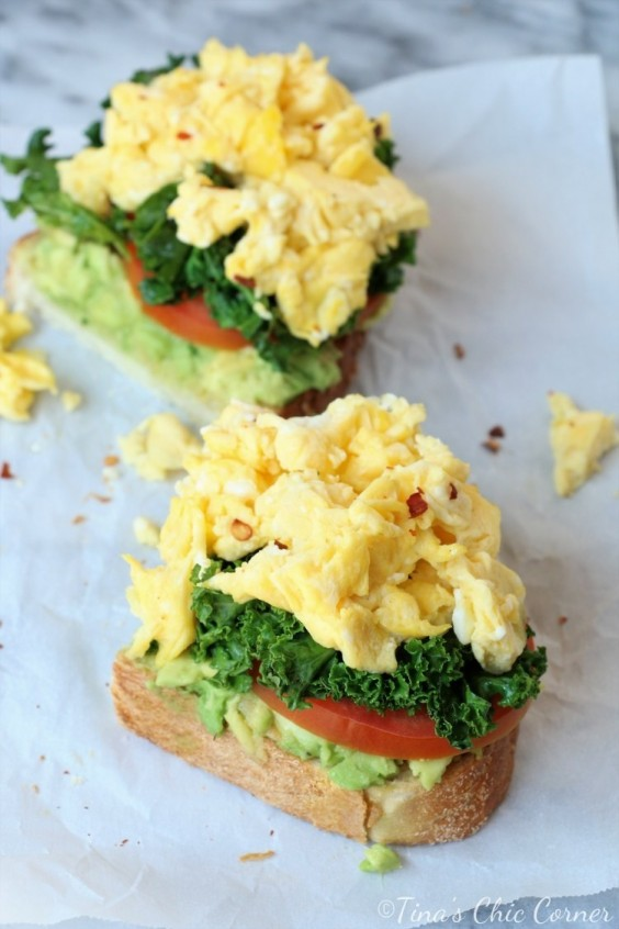 1. Avocado Toast With Eggs, Kale, and Tomatoes