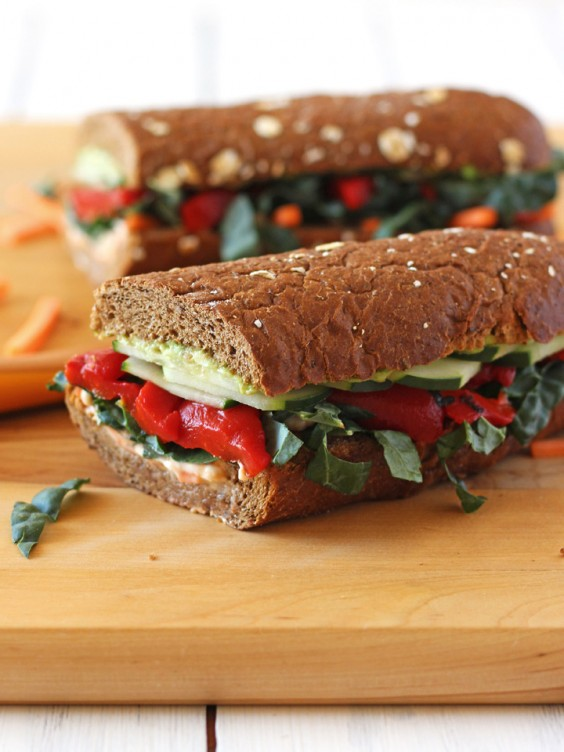 10. Roasted Red Pepper, Carrot, and Hummus Sandwich