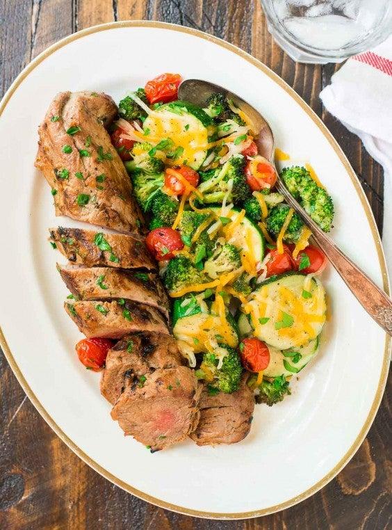 9. Mustard Pork Tenderloin With Grilled Vegetables in Foil