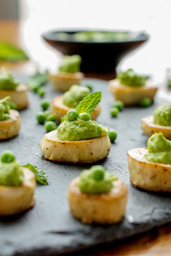 1. King Oyster Mushroom Scallops With Mint-Pea Puree