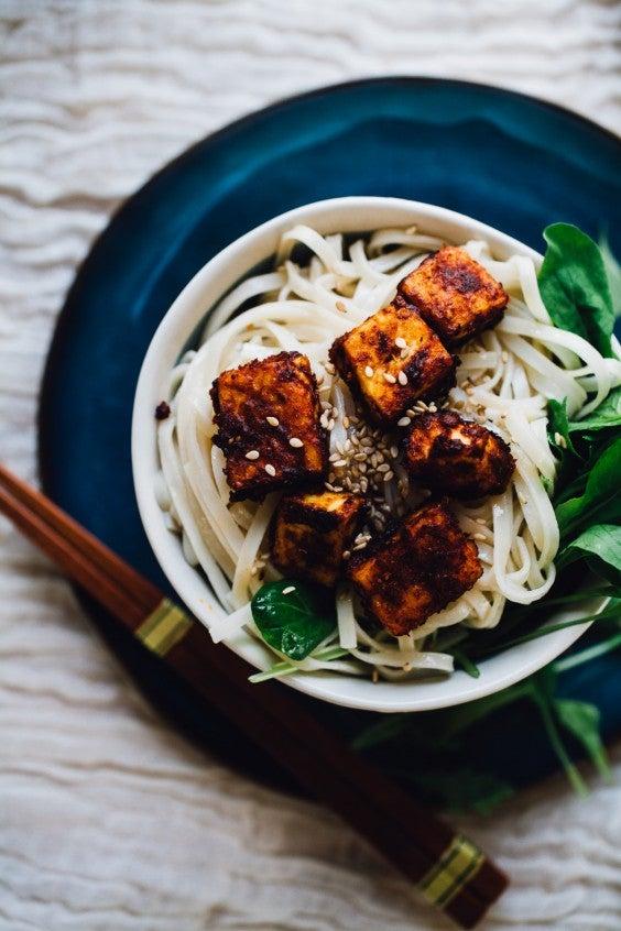 2. Crispy Harissa Tofu With Sesame Noodles